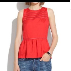 Madewell Red Silk Veranda Peplum top
